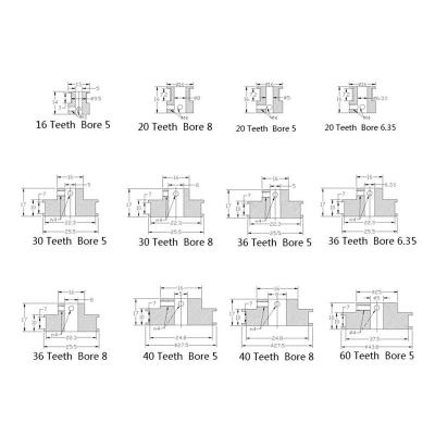 پولی تایمینگ GT2 در مدل و سایزهای مختلف