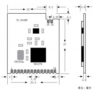 ماژول ترنسیور وایرلس YL-1278RF دارای چیپ Sx1278