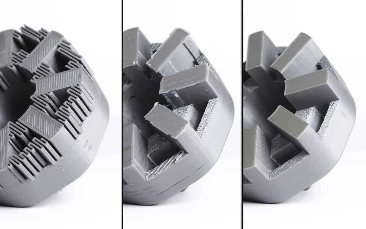 قطعه پرینت سه بعدی شده با ساپورت  - قطعه پس از کندن ساپورت ها - قطعه پس از انجام تمیزکاری اولیه