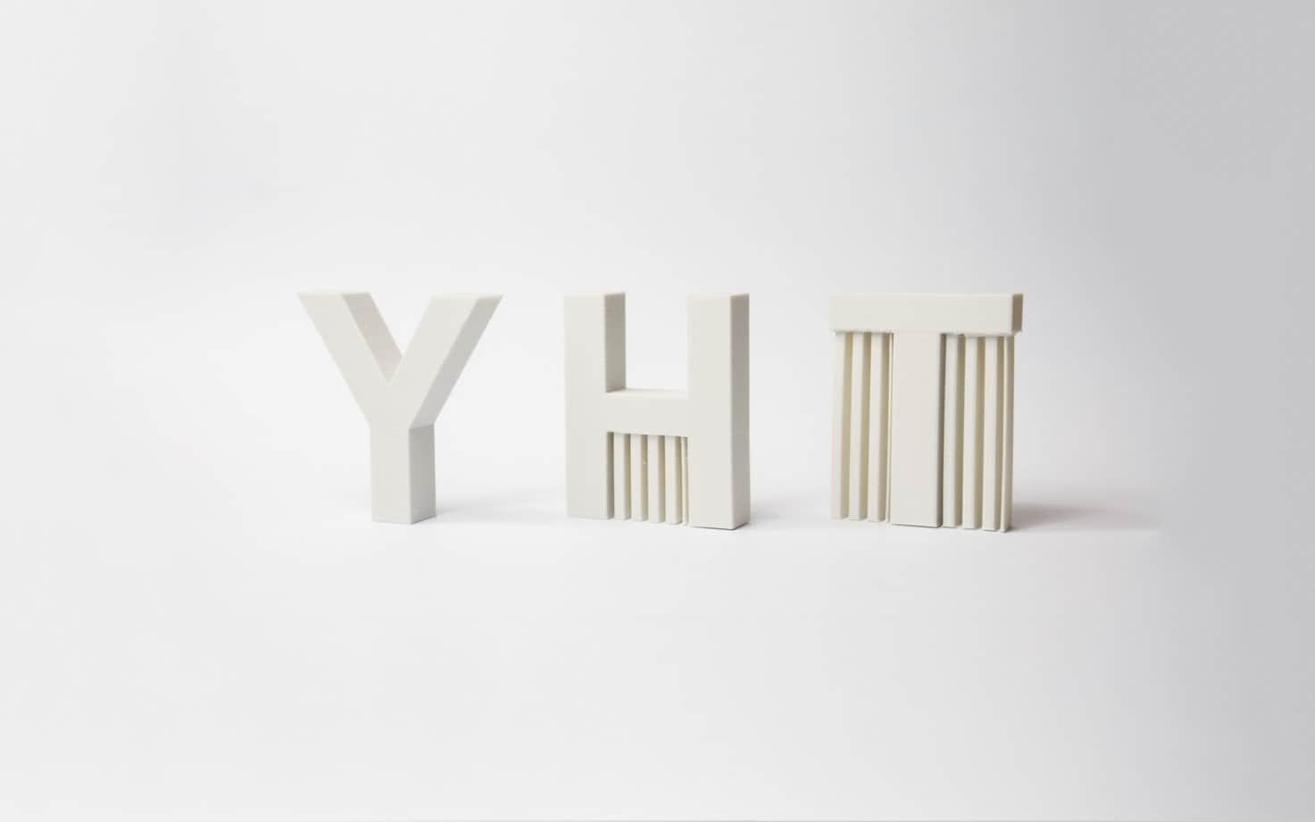مدل های سه بعدی حروف  Y ، H  و T را به عنوان نمونه در نظر بگیرید.