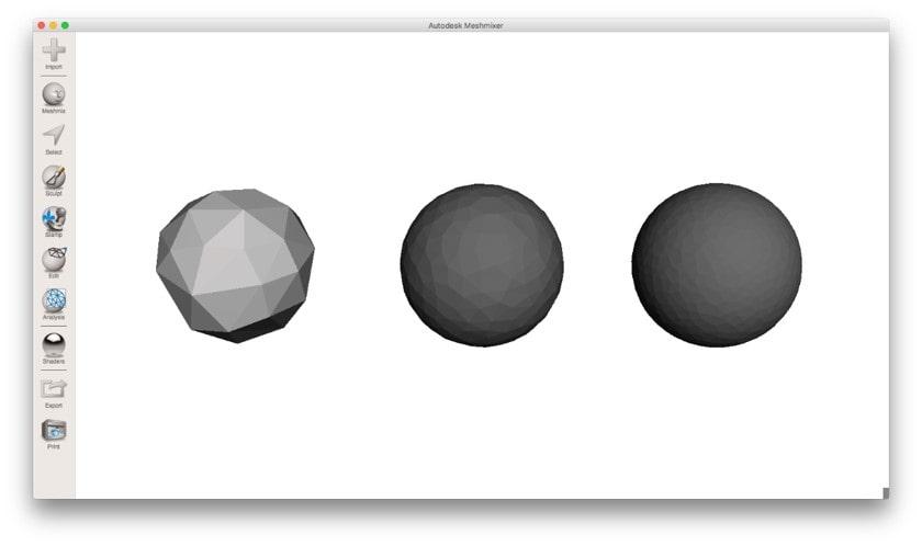 مقایسه یک کره یکسان با تعداد مثلث های مختلف برای خروجی STL